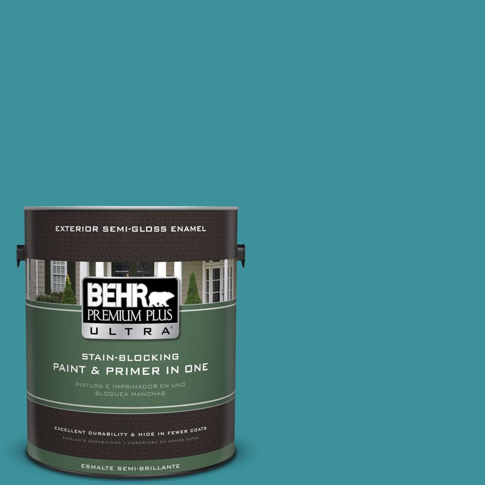 BEHR Premium Plus Ultra 1-gal. #520D-6 Lagoon Semi-Gloss Enamel Exterior Paint