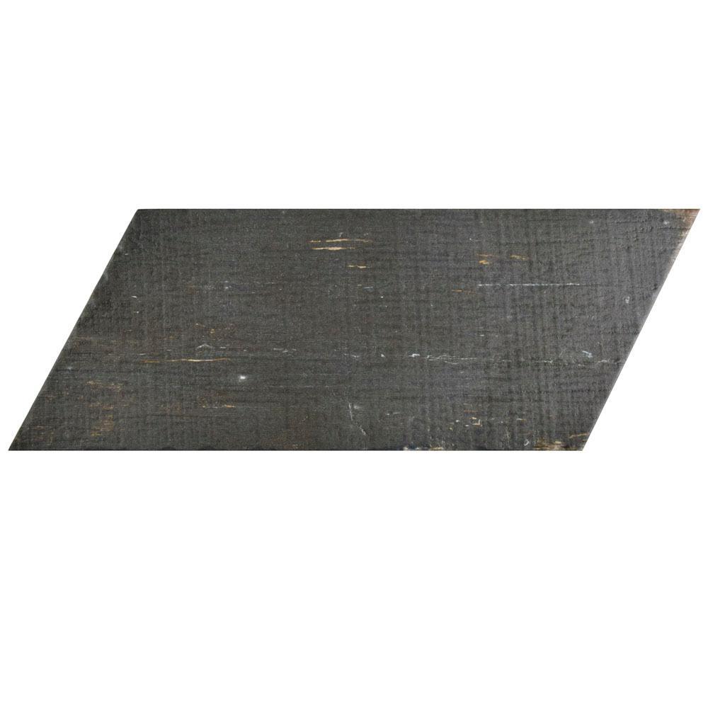 Merola Tile Retro Naveta Nero 7-1/8 in. x 16-3/8 in. Porcelain Floor and Wall Tile (11.07 sq. ft. / case)