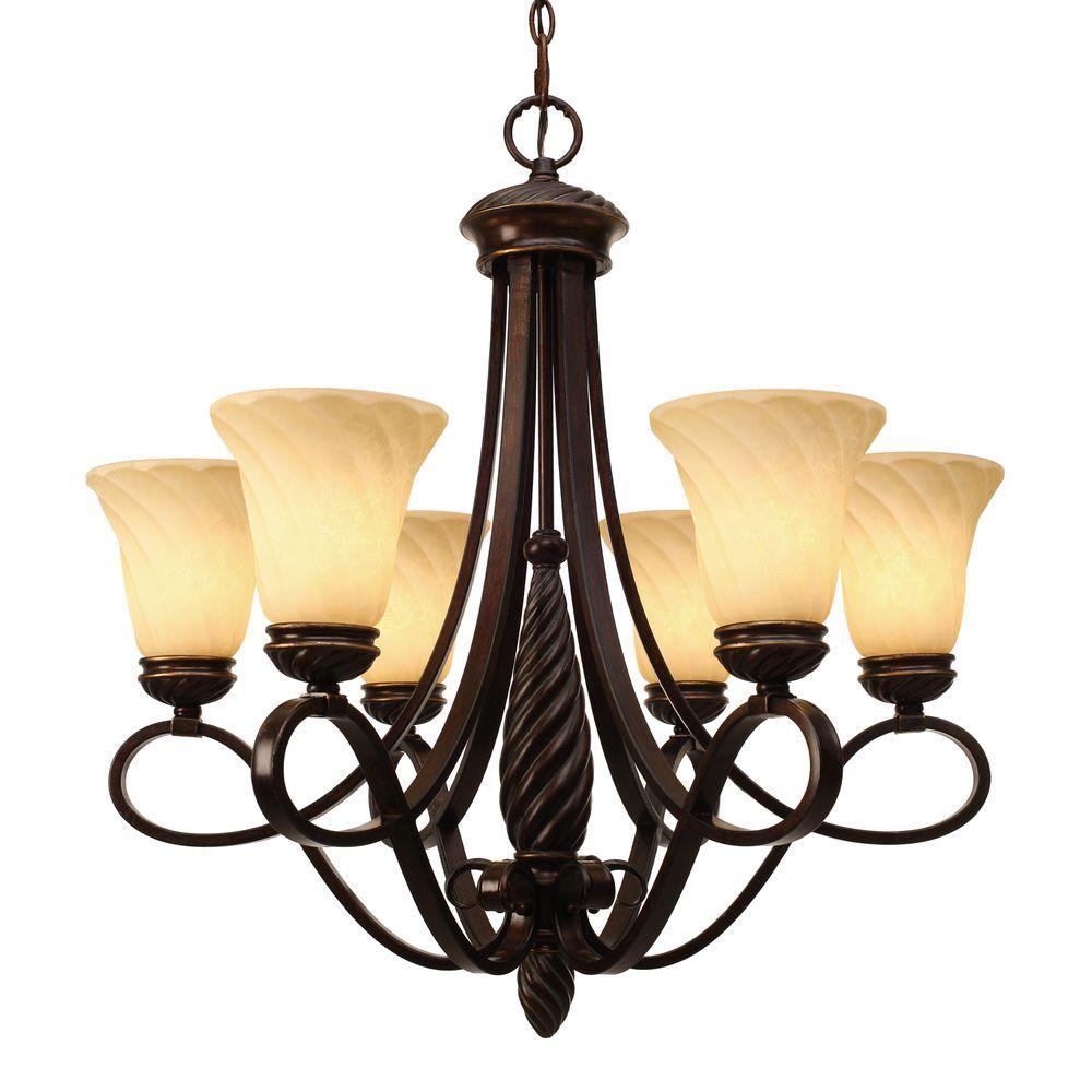Golden Lighting Laurent Collection 6-Light Cordoban Bronze Chandelier