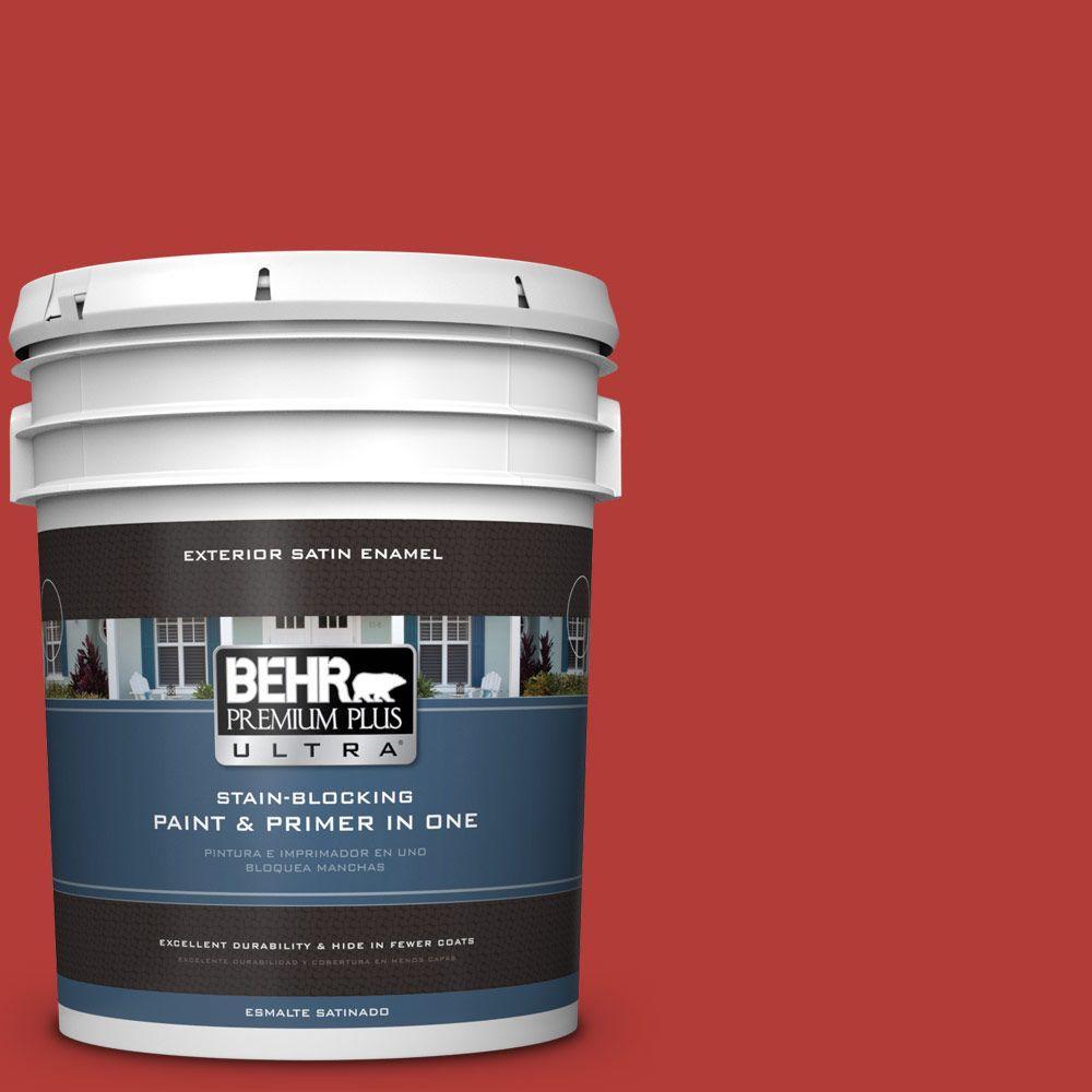 BEHR Premium Plus Ultra 5-gal. #PMD-85 Crimson Silk Satin Enamel Exterior Paint