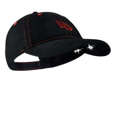 POWERCAP LED Hat 25/10 Ultra-Bright Hands Free Lighted Battery Powered Headlamp Black/Red Unstructred Cotton