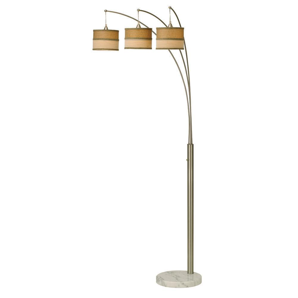 Contemporary 3 Arc Brushed Steel Floor Lamp With Marble Base And