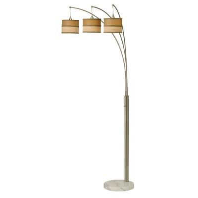 86 in. Contemporary 3-Arc Brushed Steel Floor Lamp with Marble Base and Dimmer Switch