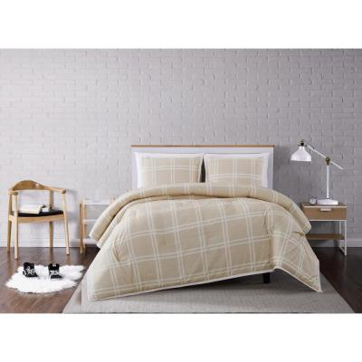Leon Plaid Khaki Full/Queen 3-Piece Comforter Set