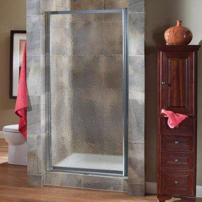 Tides 23 in. to 25 in. x 65 in. Framed Pivot Shower Door in Silver with Obscure Glass with Handle