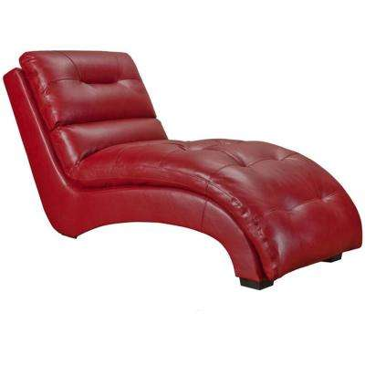 Savannah Red Faux Leather Chaise Lounge