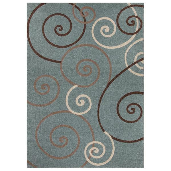 Concord Global Trading Chester Scroll Blue 8 Ft X 11 Ft Area Rug 97767 The Home Depot