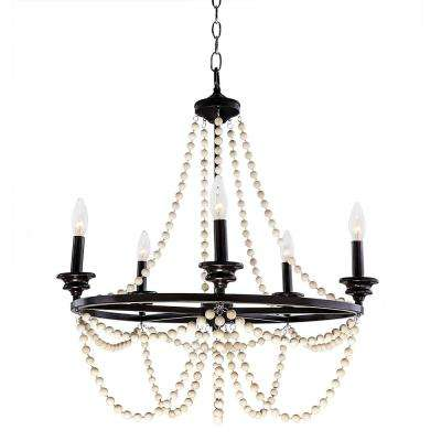 Jasper 5-Light Brown and White Metal and Wood Bead Chandelier
