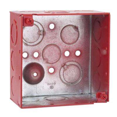 4 in. Square Welded Box, 2-1/8 Deep with 1/2 and 3/4 in. TKO's - Life Safety Red (25-Pack)