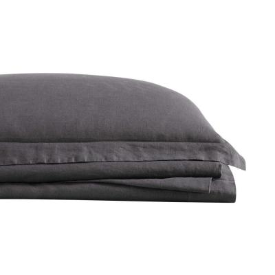 Flax Linen 4-Piece Charcoal Solid 300 Thread Count California King Sheet Set
