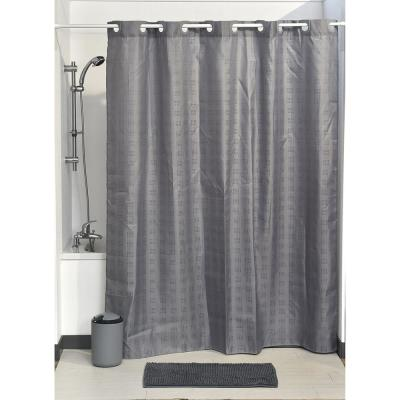 Hookless Shower Curtain Polyester Cubic- Color Matching Hooks 71 in. L x 79 in. H/ 180 x 200 cm Grey
