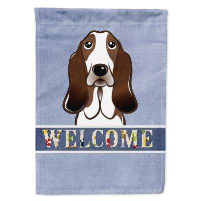 11 in. x 15-1/2 in. Polyester Basset Hound Welcome Garden Flag  2-Sided 2-Ply
