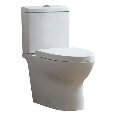 Caspian 12 in. Rough-In 2-Piece 1.1/1.6 GPF Dual Flush Elongated Toilet in White, Seat Included
