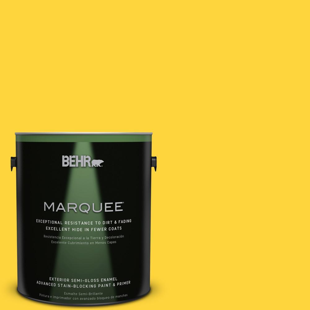 BEHR MARQUEE 1-gal. #380B-6 Lemon Tart Semi-Gloss Enamel Exterior Paint