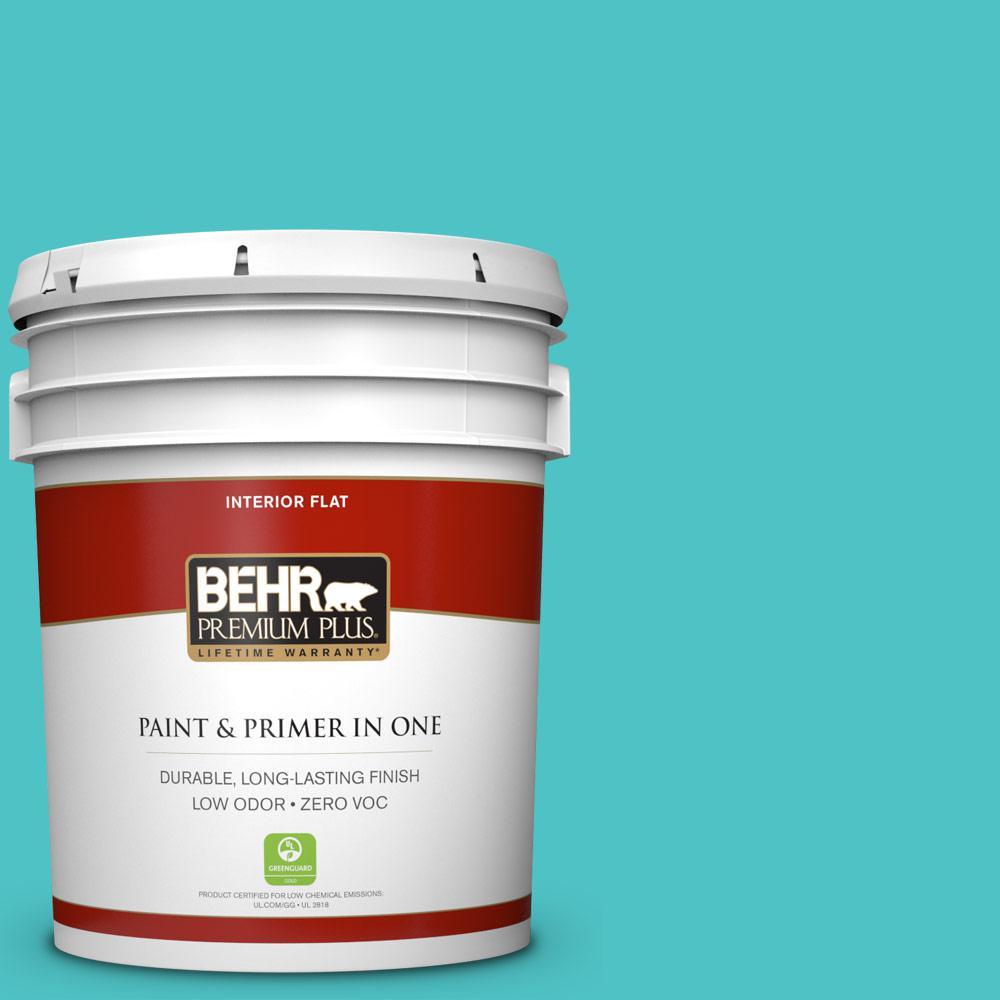 BEHR Premium Plus 5-gal. #500B-4 Gem Turquoise Zero VOC Flat Interior Paint
