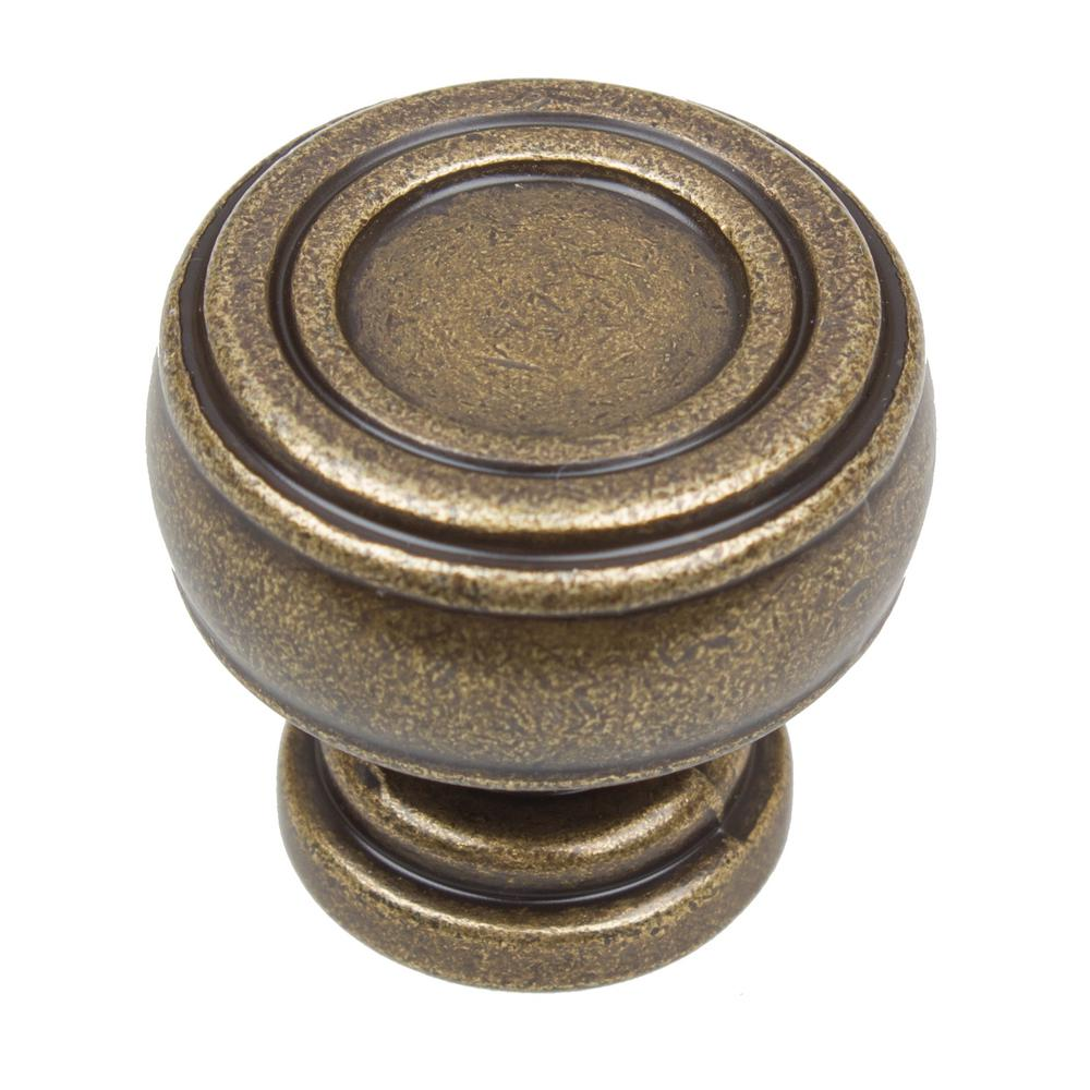 Gliderite 1 1 8 in dia antique brass bold round barrel shaped cabinet knob 10 pack 5734 ab 10 - Antique brass cabinet knobs ...