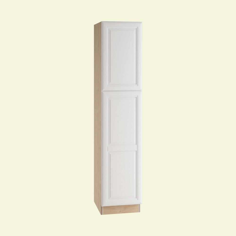 Home Decorators Collection Brookfield Assembled 18 x 84 x 24 in. Pantry/Utility 2 Single Door Hinge Right Utilty Kitchen Cabinet in Pacific White