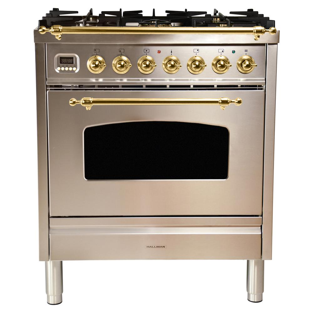 Hallman 30 in  3 0 cu  ft  Single Oven Dual Fuel Italian Range with True  Convection, 5 Burners, Brass Trim in Stainless Steel