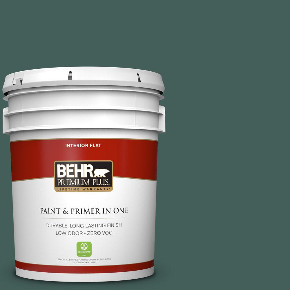 5 gal. #BIC-54 Vert Pierre Zero VOC Flat Interior Paint