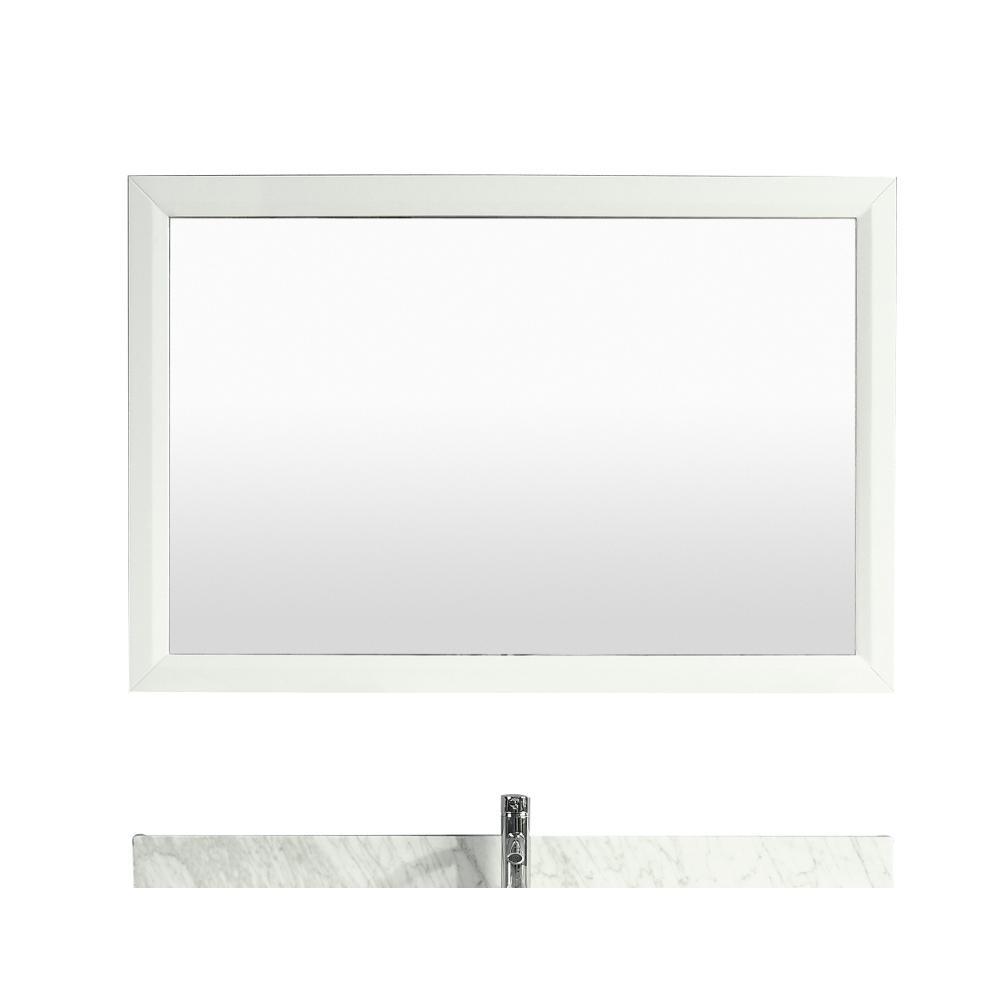 Aberdeen 48 in. W x 30 in. H Framed Rectangular Bathroom Vanity Mirror in White