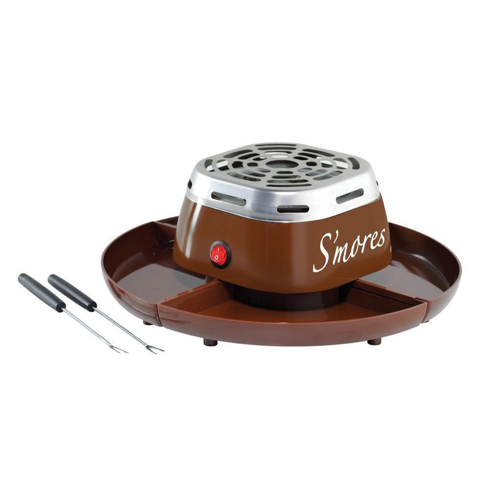 S'Mores Maker, Brown The Nostalgia SMM200 Electric S'mores Maker brings the great campfire tradition right into the comfort of the kitchen, featuring a flameless electric heater, it toasts marshmallows to a perfect golden brown, while the 4-compartment server tray holds graham crackers, chocolate and marshmallows. Includes 2 stainless steel roasting forks.