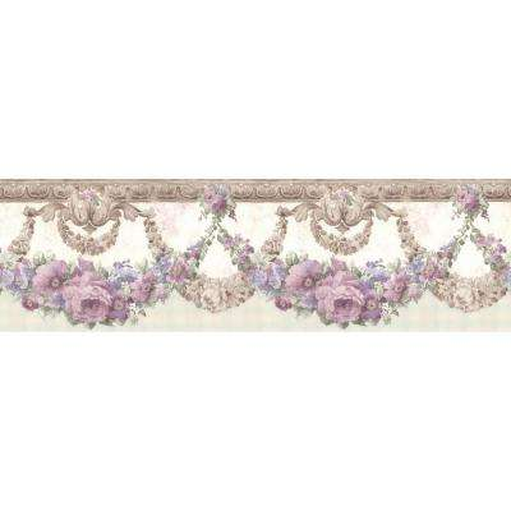 Marianne Purple Floral Bough Wallpaper Border Sample