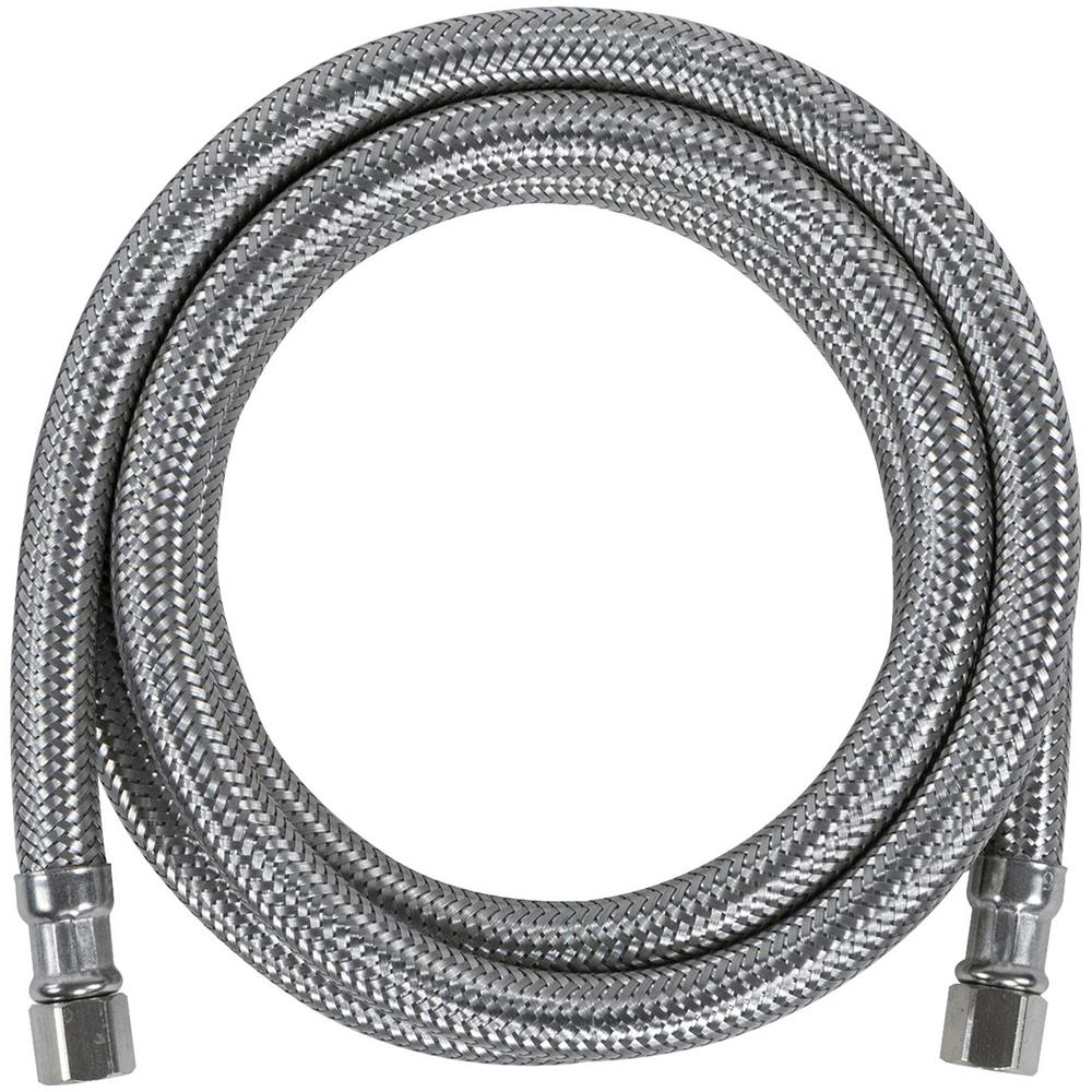 CERTIFIED APPLIANCE ACCESSORIES 4 ft. Braided Stainless Steel Ice Maker Connector, Silver For years, licensed plumbers, electricians and appliance installers have relied on CERTIFIED APPLIANCE ACCESSORIES for their power cords, hoses and connectors. Now you can too. Enjoy the convenience offered by this ice maker connector from CERTIFIED APPLIANCE ACCESSORIES. Its flexibility and durability ensure a reliable connection for your next home installation project. This hose has been thoroughly tested and is backed by a 5-year limited warranty. Check your appliance's manual for the correct specifications to ensure this is the right connector hose for you. Thank you for choosing CERTIFIED APPLIANCE ACCESSORIES Your Appliance Connection Solution. Color: Stainless Steel.