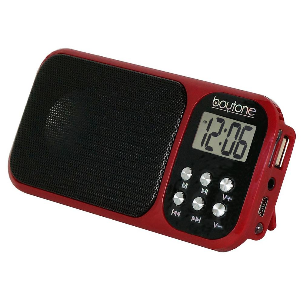 BT-92 Portable Alarm Clock Radio, Red