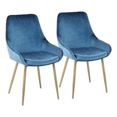 Diana Blue Velvet and Satin Brass Metal Chair (Set of 2)
