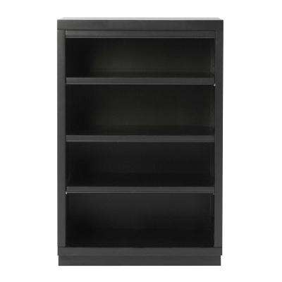 Mudroom 3-Shelf Wood Narrow Wall Credenza Shelving Unit in Worn Black