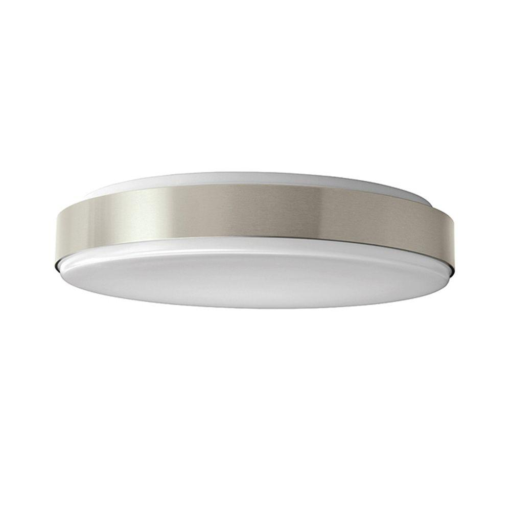 Hampton Bay 15 in. Brushed Nickel Bright/Cool White Round LED Flushmount Ceiling Light Fixture Dimmable