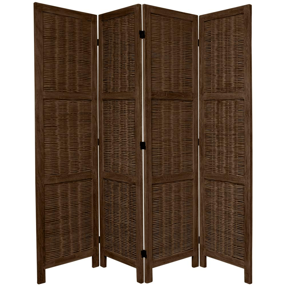 Oriental 6 ft. Burnt Brown Matchstick 4-Panel Room Divider