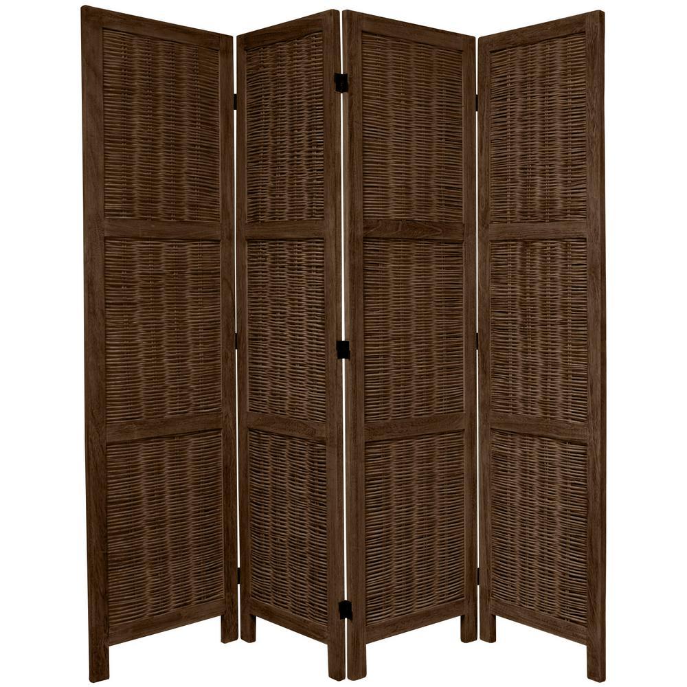 furniture 6 ft burnt brown matchstick 4 panel room divider fj match 4p bbrn the home