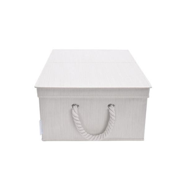 11-Gal. Foldable Polyester Storage Bin with Cotton Rope Handles and Double-Open Lid in Ivory