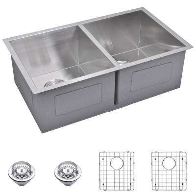 Undermount Zero 29 in. 0-Hole Double Bowl Kitchen Sink with Strainer and Grid in Premium Scratch Resistant Satin Finish