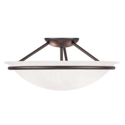 Providence 3-Light Ceiling Bronze Incandescent Semi-Flush Mount