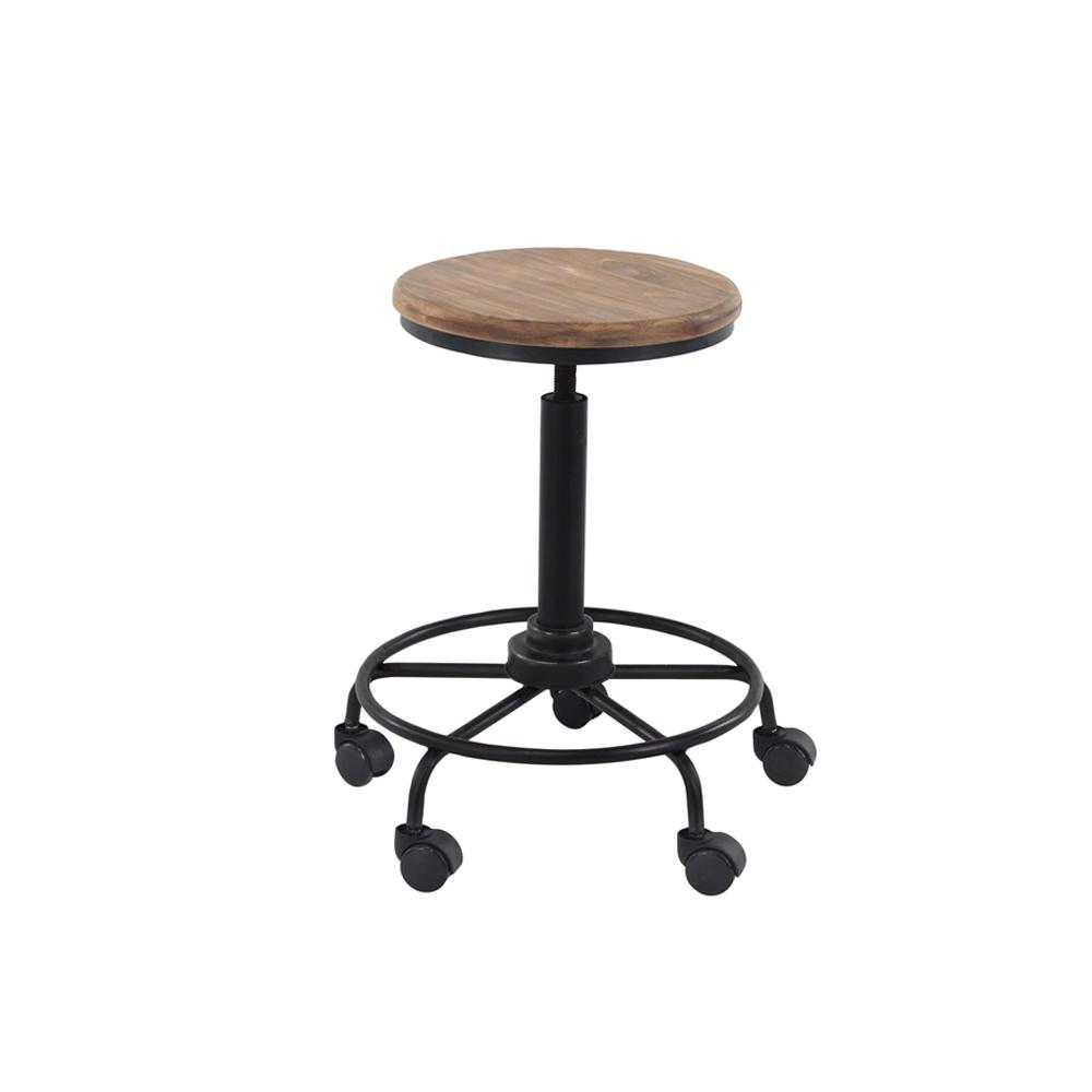 23 In Black Round 5 Wheel Iron Bar Stool 14921 The Home Depot