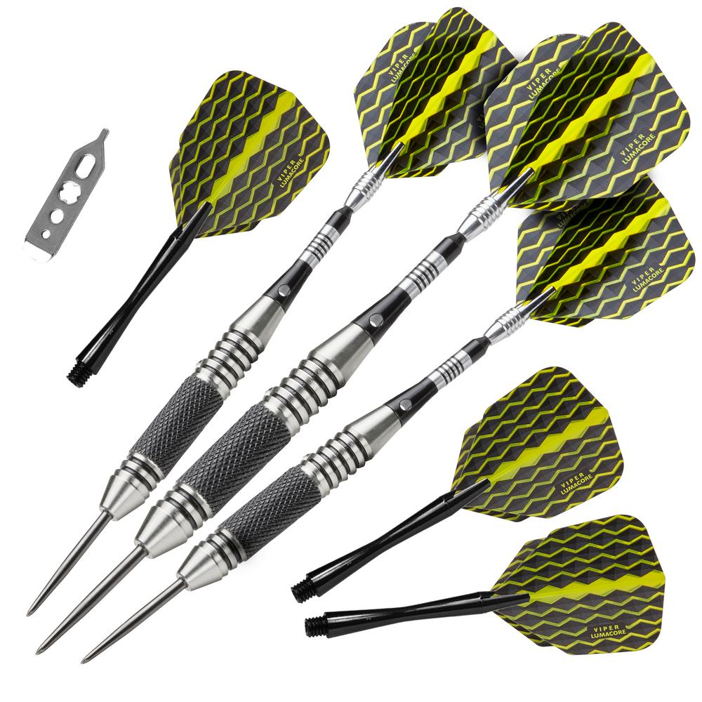 Viper The Freak 22 g Black and Yellow Knurled and Grooved Barrel Steel Tip  Darts Set