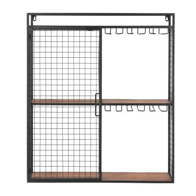 31 in. H x 27 in. W x 8 in. D Home Decorators Collection Black Metal Wall-Mount Shelf with Hanging Wine Glass Storage