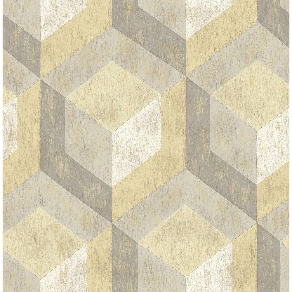 Brewster 56.4 sq. ft. Clarabelle Beige Rustic Wood Tile Wallpaper 2701-22309
