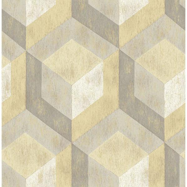Brewster Honey Rustic Wood Tile Geometric Wallpaper Sample 2701-22309SAM
