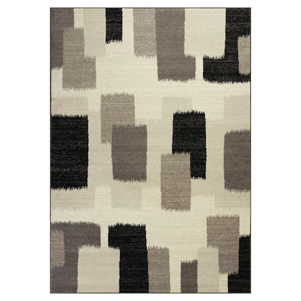 Kas Rugs Patchblock Black/Ivory 5 ft. 3 in. x 7 ft. 7 in. Area Rug