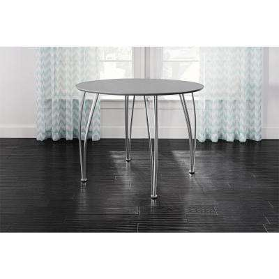 Brentwood 39.5 in. Round Gray Dining Table with Chrome Legs