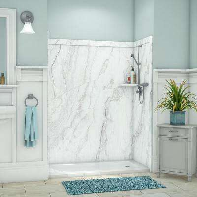 Royale 36 in. x 60 in. x 80 in. 11-Piece Easy Up Adhesive Alcove Bathtub/Shower Wall Surround in Calypso