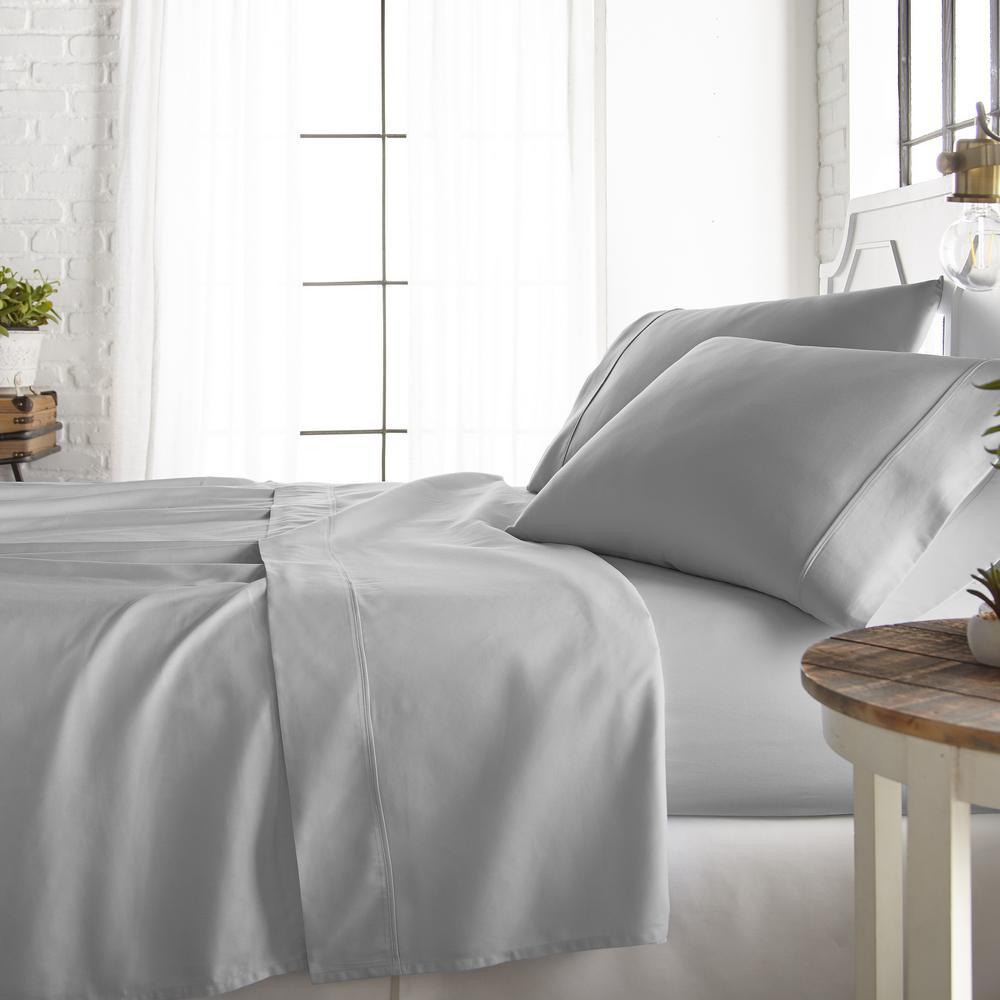 4-Piece Light Gray 800 Thread Count Cotton Rich Queen Bed Sheet Set