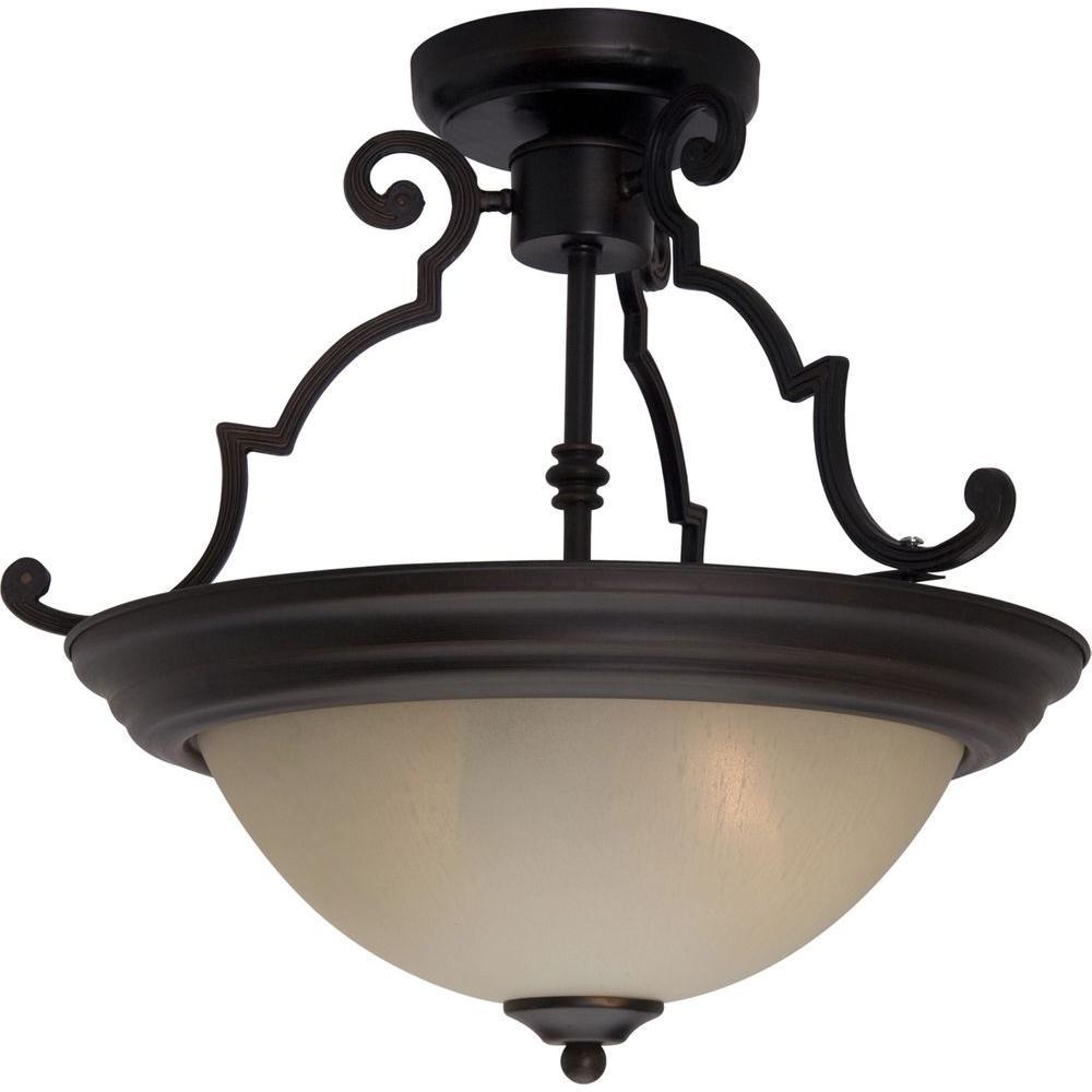 Oriax Infinite 2-Light Oil Rubbed Bronze Fluorescent Ceiling Semi Flush Mount-DISCONTINUED