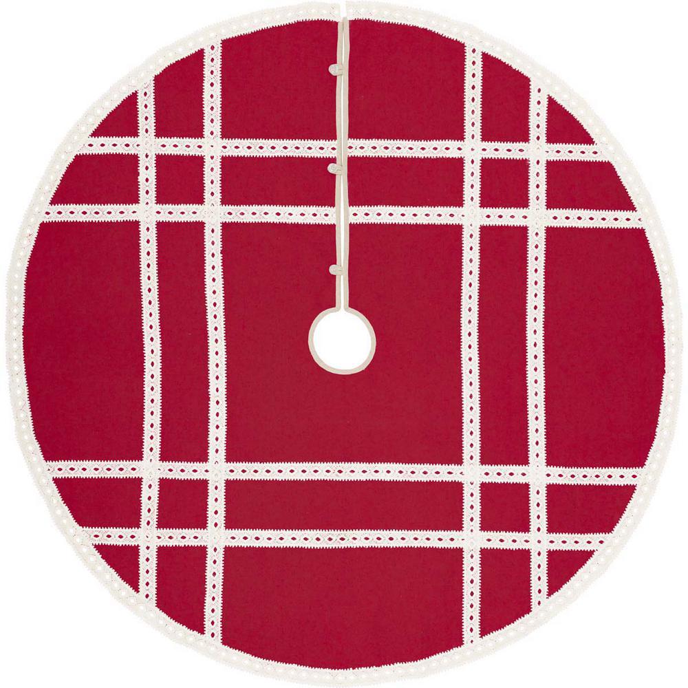 55 in. Red Margot Farmhouse Christmas Decor Tree Skirt