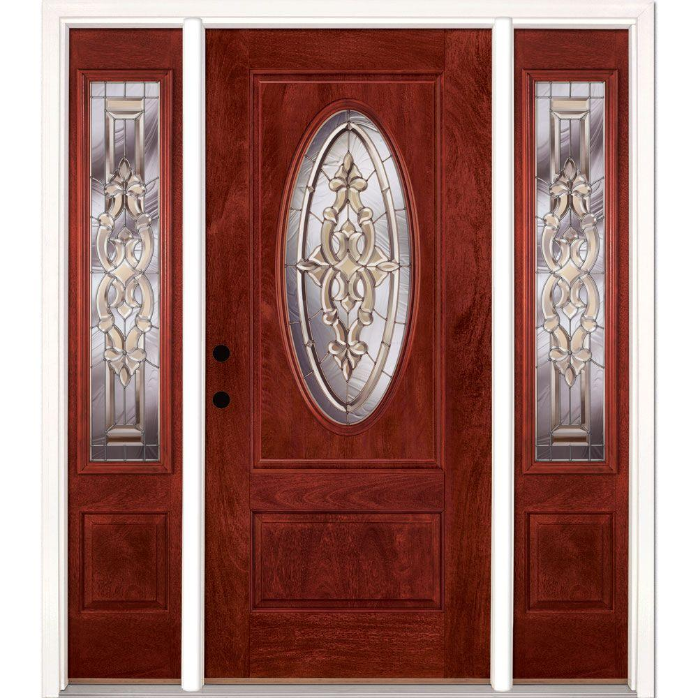 Feather River Doors 63.5 in.x81.625in.Silverdale Zinc 3/4 Oval Lt Stained Cherry Mahogany Rt-Hd Fiberglass Prehung Front Door w/ Sidelites