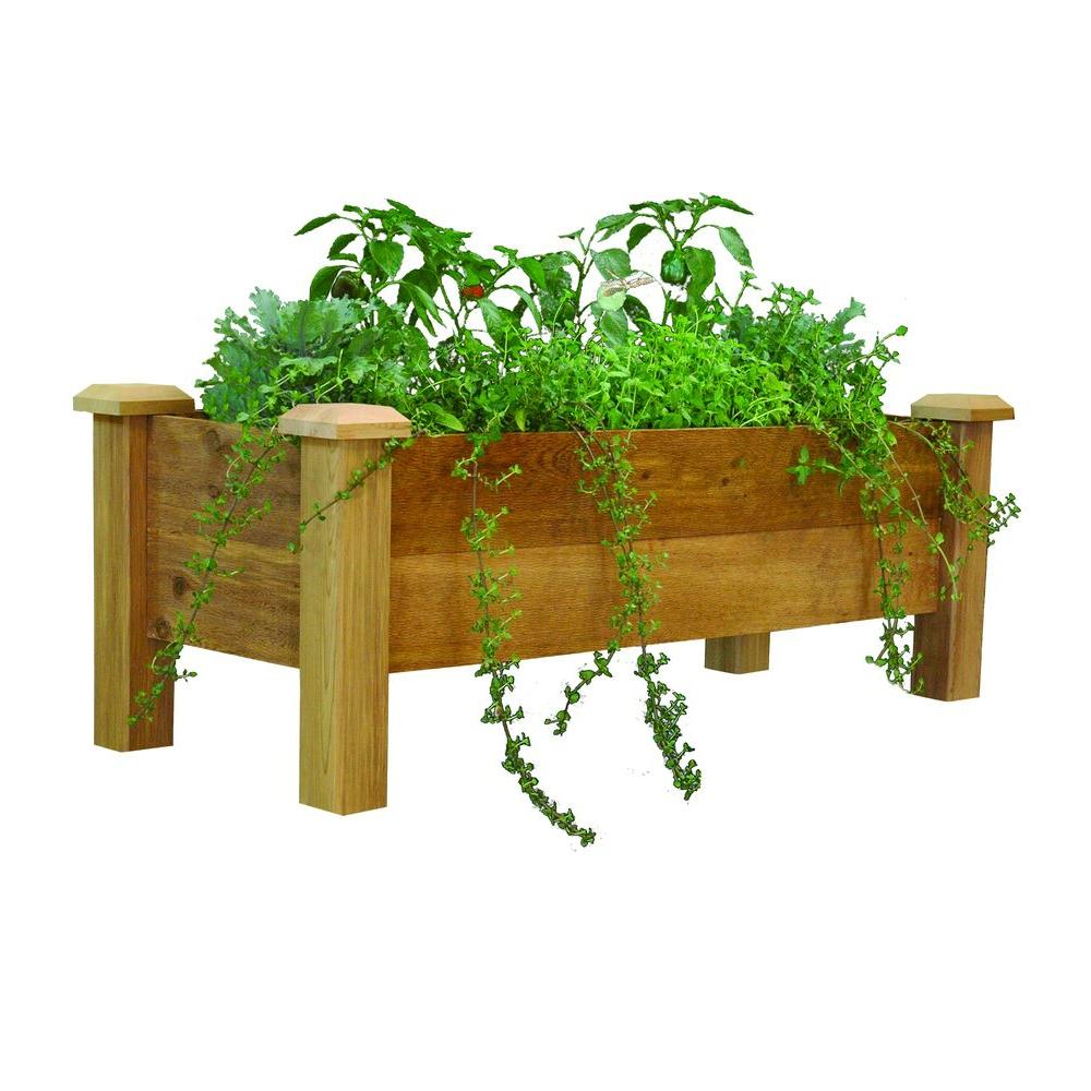 Gronomics 48 In X 18 In Rustic Cedar Planter Box Rpb 18 48 The Home Depot