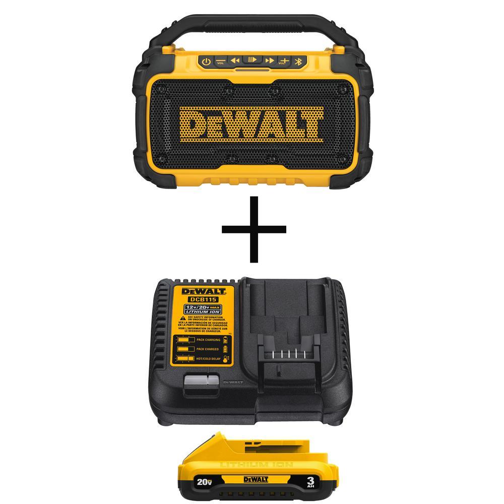 Dewalt DCR010 20V Max Bluetooth Jobsite Speaker + Dewalt DCB230C 20V MAX 3 Ah Lithium-Ion Compact Battery and Charger Kit
